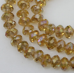 lot of 500pcs quality facet yellow crystal glass 4*6mm total 5strands Loose beads Czech Glass jewelry DIY