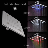 Cheap 8 inch overhead shower 62 brass temperature sensing 3 colors(blue,white,red) led shower head