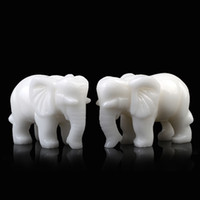 Cheap White jade lucky elephant decoration a pair of Small 0648 decoration crafts