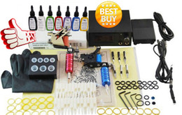 Wholesale Tattoo Kit Beginner Pro Machine Gun Power Supply Foot Pedal Needles Grip Tip Ink BT TK