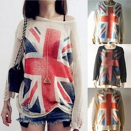 Wholesale Women Fashion Wildfox UK Flag Hollow Out Loose Knitting Sweaters Pullover Tops CWC00038