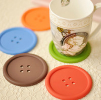 Wholesale 40pcs Color Button Silicone Double sided Non slip Coaster Insulation pad Mats Bowl Disc Placemats Button Coasters