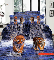 100% Cotton Home Adult 3D Tiger comforter bedding set blue water queen size comforters sets bed linen sheet quilt duvet cover bedspread bedcloth print oil painting