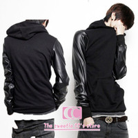 Wholesale Spring and autumn fashion PU leather patchwork sleeves long sleeve with a hood black men s hoodie