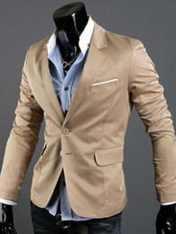 Wholesale Fashion Khaki Cotton Blend Turndown Collar Men s Casual Suit jeans u6 P58
