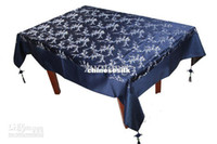 Wholesale Rectangle Blue Damask Tablecloth Embroiered Table Cover Dining Decorative Table Cloths High End Tablecloths size L x W m Free