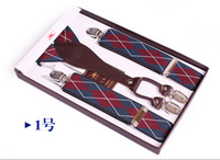 Wholesale brand new men suspenders belt leather elastic suspenders western style trousers suspenders with four clip mixed order MM56