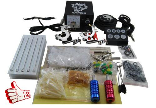 Tattoo kit beginner 2 pro machine gun power supply foot for Cheap tattoo kits amazon