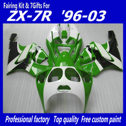 Green White Fairing kit for KAWASAKI ZX7R ZX-7R ZX 7R ZZR750 Ninja fairings 1996 - 2003 96 97 98 99 00 01 02 03