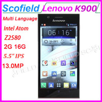 "Lenovo 5.5 Android 4.2 Original Lenovo K900 5.5"" IPS Multi Language Android Cell Phone 401ppi Intel Atom Z2580 Dual Core 2G RAM 16G ROM 13.0MP 3G GPS Android 4.2"