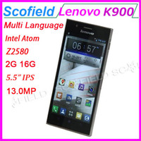 """WCDMA Dual Core Android Original Lenovo K900 5.5"""" IPS Smartphone Android Cell Phone Intel Atom Z2580 Dual Core 2G RAM 16G ROM 13.0MP Android 4.2 Multi Language"""