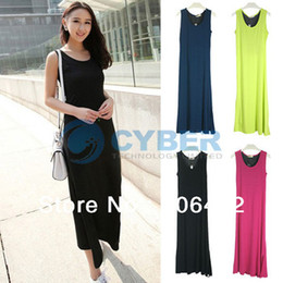 Wholesale Women s Sexy Splicing Backless Dress Sleeveless Sundress Summer Long Beach Dress Colors