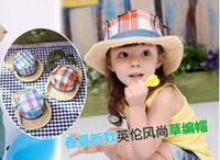 Boy Summer Crochet Hats 2013 children summer new fashion style British flanging straw hat
