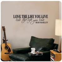 al por mayor etiquetas de la pared cita de bob marley-Bob Marley cita pared etiqueta decoración amor vida palabras texto etiqueta bien grande