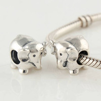Cheap 925 Sterling Silver Screw Core Animals Elephant Charm Bead Fits European Pandora Jewelry Bracelets Necklaces & Pendants