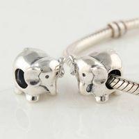 Wholesale 925 Sterling Silver Screw Core Animals Elephant Charm Bead Fits European Pandora Jewelry Bracelets Necklaces Pendants