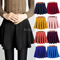 Cotton pleated skirt - Fashion Women Ladies Elastic Waist Pleated Flared Skater Mini Skirt