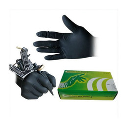 Wholesale 50 black disposible Gloves with blue Latex Rubber Tattoo Piercing Gloves for tattoo kits supply arrive within days WS067