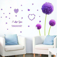 other other other 2pcs Purple dandelion wallpaper Wall sticker derlook applique room decoration TV background&marriage room decorate Free shipping