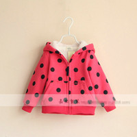 2-6Y Girl Winter 2013 New Girls Winter Cotton-padded Clothes Adorable Top Hooded Polka Dot Printed Zipper Coats Children Warm Jackets Red Sky Blue Fancy 8781