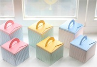 Wholesale pink blue yellow Cupcake box Portable cute paper Cake Boxes bake cup cake decorating tools for the cakes webbing party supplies
