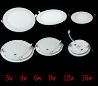 Wholesale 12 Piece Ceiling Light Lamp w w w w w w w Round Panel Light Super Thin Warm White LED kitchen light Led Recessed Downlight by DHL
