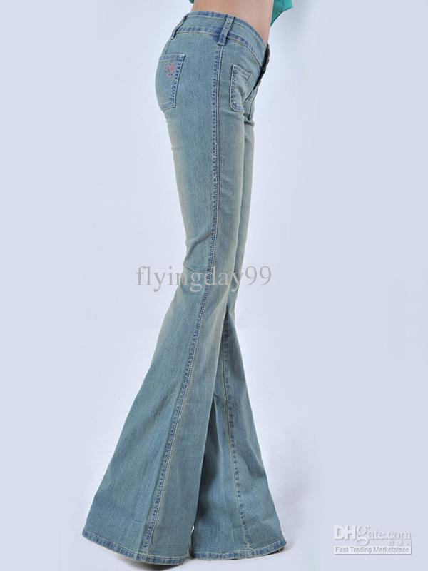 2017 Elastic Denim Cloth Women's Bell Bottom Jeans #u5 11ho From ...
