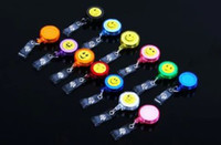 Wholesale smilling face ID holder name tag card key Badge Reels Round Solid Plastic Clip On Retractable pull Reel