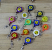 Wholesale smilling face ID holder name tag card key Badge Reels mix colours gifts