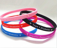 Charm Bracelets   Type 1 Diatebets Insulin Dependent Medical Alert Wristband, Silicon Bracelet, free shipping