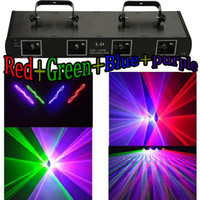 Wholesale RGBP mW Four Tunnel Lens Four Head DMX512 DJ Stage Laser Lighting Disco beam show Red Green blue Purple