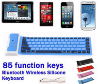 Wholesale For Tablet Samsung Galaxy Note Tab iPad Phone Wireless Silicone PORTABLE Flexible Bluetooth Soft Keyboard Key CE FCC RoHS
