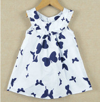 Wholesale Hot sale girls one piece dress kids sleeveless dresses butterfly girls blouses pettiskirts baby dresses jumper skirts shirts LF15