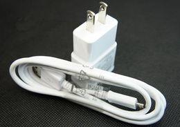 EU US Wall Charger Power Plug + Micro USB Câble pour Samsung Galaxy S4 i9500 S3 i9300 Note2 N7100 2 en 1 Noir Couleur blanche