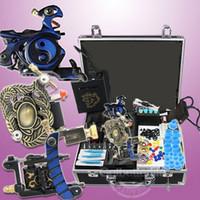 venda por atacado tattoo gun kits-Kits de kits de tatuagem de iniciação 3 fontes de alimentação de metralhadora agulhas conjunto de equipamentos (armazém EUA) WS-K302B