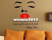 Wholesale High quality with transfer film cm cm Marilyn Monroe Red Lips Removable Art Vinyl Wall Stickers Decor Mural Decal