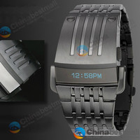 Wholesale High Quality NEW Fashion Luxury Iron Man Conception Blue LED Mens Stainless Steel Watch