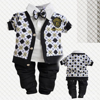 Wholesale 100 Cotton Europe Gentleman Style Baby boys clothes Sets Children outwear Tshirt pants Baby girls leisure suits clothing S43
