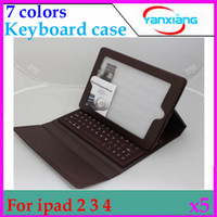 Wholesale DHL bluetooth silicone wireless keyboard with pu stand leather case For iPad RW L11