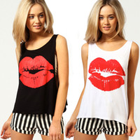 Wholesale 2014 Women cotton t shirt with lips pattern printed loose round collar sleeveless vest bra two piece fashion cute leisureD025