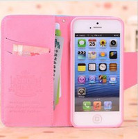 Leather For Apple iPhone For Christmas FREE DHL---new luxury real leather case wallet style mobile phone case for iphone5 iphone 5 5G 5s