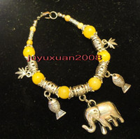 Beaded, Strands China-Tibet Unisex Free Shipping Lovely jewelry Tibet Silver Yellow Jade Elephant Pendant Bracelet