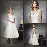 church dresses - Sweet A Line V Neck Applique Organza Sleeveless Tea Length Church Simple Garden Wedding Dress