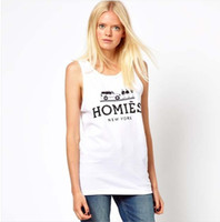 Wholesale Freeshipping womens cotton tank with homies logo print for and dropship