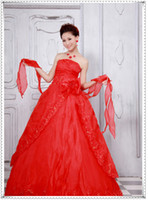 Wholesale Sweetheart Sexy Red Strapless Sweep Train Slim Wedding Dress layer Yarn Zipper Ball Gown Dress