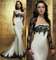 Wholesale White Black Lace Mermaid Wedding Dresses with Free Bolero Jacket Two Piece Strapless Applique Illusion Long Sleeve Court Train Bridal Gowns