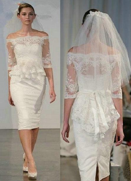 French Lace Wedding Dress With Sleeves Lace Peplum Wedding Dress