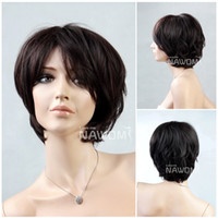 Wholesale Office Ladies USA Full Cup Dark Brown Bob Wigs and Natural Synthetic Straight Short Hair Wigs for Women Party Wigs