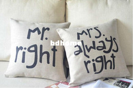 2017 Shabby Chic Home Decor Wholesale Shabby Chic Vintage Style Mr Right Cushion Cover Seat