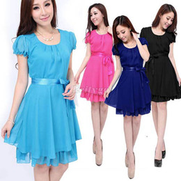 Wholesale New Womens Ladies Chiffon Short Puff Sleeve Belted Skater Party Dress Qx33